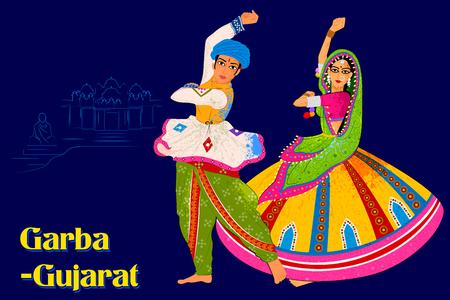 Illustration pour Vector design of Couple performing Garba folk dance of Gujarat, India - image libre de droit