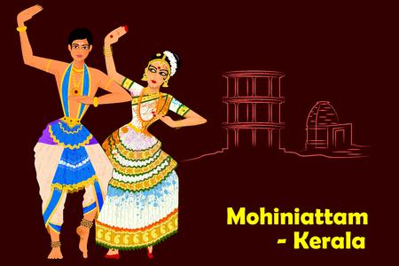 Illustration pour Vector design of Couple performing Mohiniattam classical dance of Kerala, India - image libre de droit