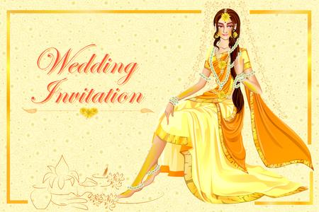 Illustration pour Indian woman bride in Haldi wedding ceremony of India - image libre de droit