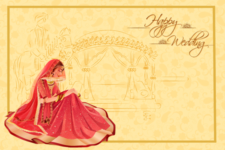 Illustration pour Indian woman bride in wedding ceremony of India - image libre de droit