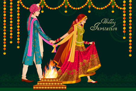 Illustration for Indian couple in wedding Satphera ceremony of India - Royalty Free Image