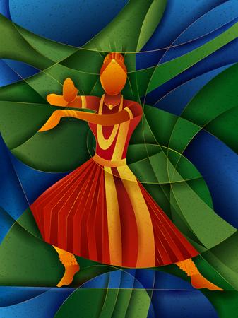 Illustration pour Vector design of woman performing Kuchipudi classical dance of Andhra Pradesh, India - image libre de droit