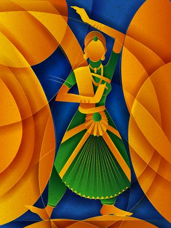 Illustration pour Vector design of woman performing Bharatanatyam classical dance of Tamil Nadu, India - image libre de droit