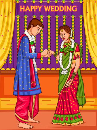 Illustration pour Indian couple in wedding Engagement ceremony of India - image libre de droit