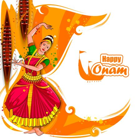 Illustration pour vector illustration of woman performing Mohiniyattam dance for Happy Onam festival of South India Kerala background - image libre de droit