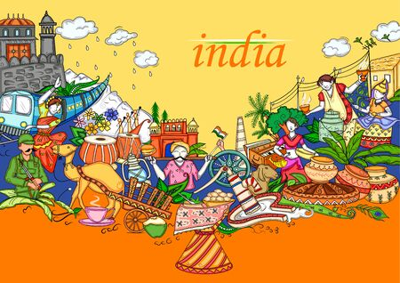 Illustration pour Indian collage illustration showing culture, tradition and festival of India - image libre de droit