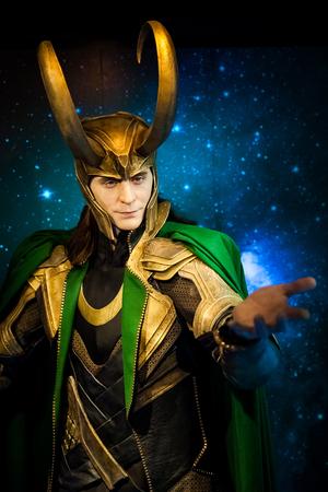 Foto de Wax figure of Loki fictional character from American comic books in Madame Tussauds Wax museum in Amsterdam, Netherlands - Imagen libre de derechos