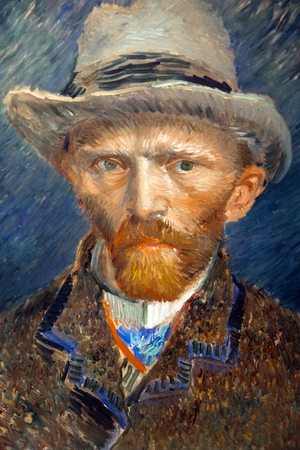 Portrait artwork of famous painter Vincent van Gogh. Close up painting in Rijsmuseum in Amsterdam city, Holland