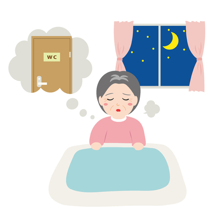 Ilustración de Senior women awakened to want to go to the toilet in the middle of the night. - Imagen libre de derechos