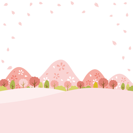 Illustration pour Spring town scape with cherry blossom vector background. - image libre de droit