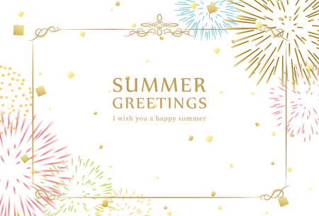 Illustration pour Summer greeting card of fireworks. - image libre de droit