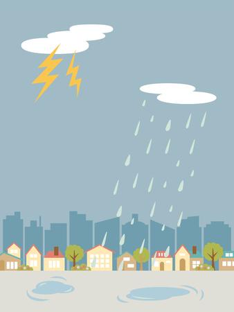 Illustration for Thunder weather land scape vector illustration. - Royalty Free Image