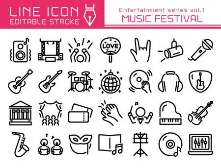 Illustration pour Music festival vector icon set.  Editable line stroke. - image libre de droit