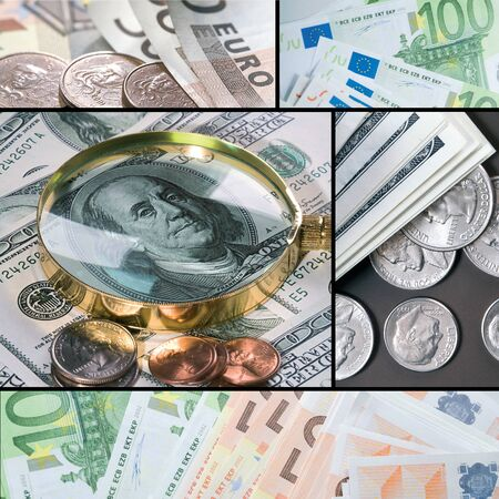 Collage of different banknotes and coins