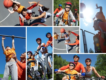 Collage of happy family on bicycles and playing with ball outdoors