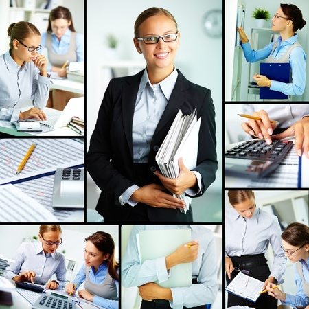 Collage of young businesswomen working in office