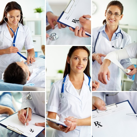 Collage of medical staff working indoors, examining patient and filling the blanks