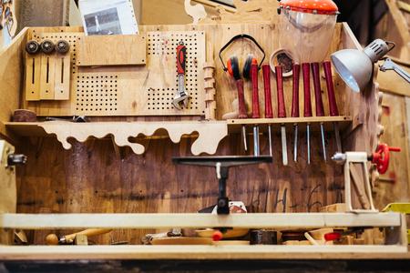 Workshop of manufacturer with various instrument