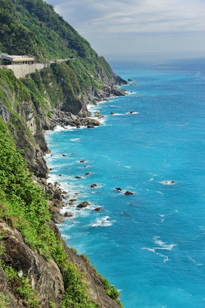 Beautiful east coast of Taiwan with clear blue sea and cliffs