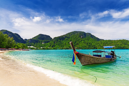 Photo for Long tail boat on tropical beach, Krabi, Thailand - Royalty Free Image