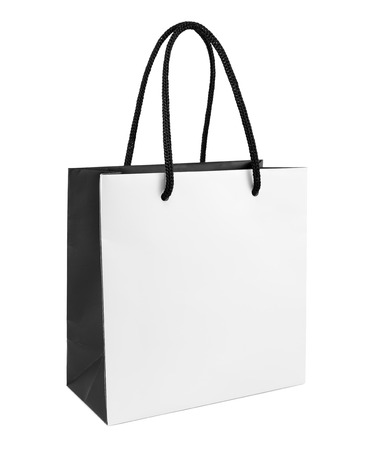 Photo pour White and black paper shopping bag isolated - image libre de droit