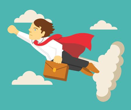 Super businessman. Vector flat illustration