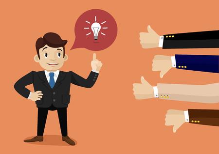 Illustration pour Businessman feedback. Like and dislike - image libre de droit