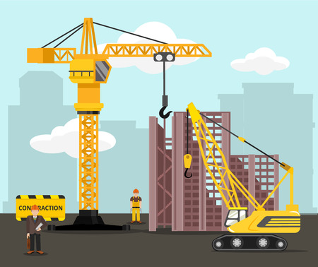 Construction and building vector flat illustration