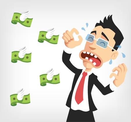 Illustration pour Businessman lose money. Vector flat illustration - image libre de droit