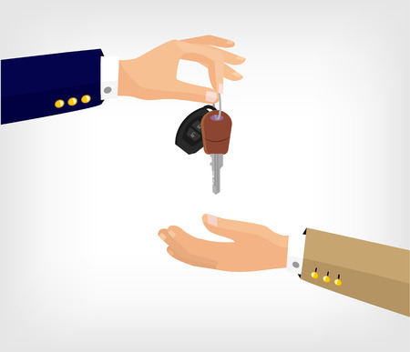 Vector hands with key flat illustration