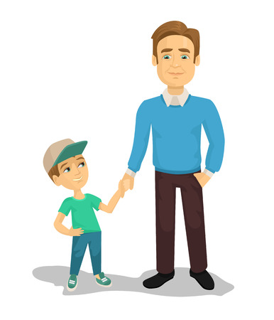 Vector father and son flat cartoon illustrationのイラスト素材
