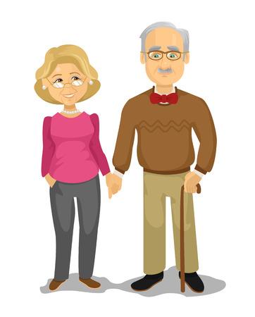 Grandpa and Grandma. Vector flat cartoon illustration