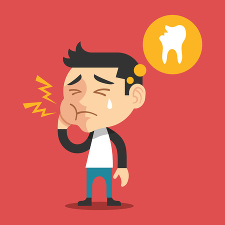 Toothache vector flat cartoon illustration