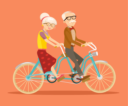 Illustration for Grandparents on bicycle. Vector flat illustration - Royalty Free Image