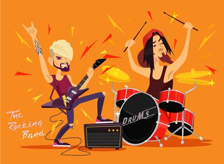 Vector rock band flat illustration