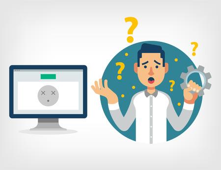 Ilustración de Man with broken computer. Vector flat illustration - Imagen libre de derechos