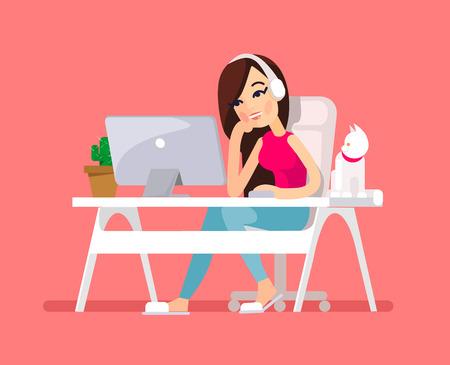 Illustration pour Woman sitting at desk. Vector flat illustration - image libre de droit