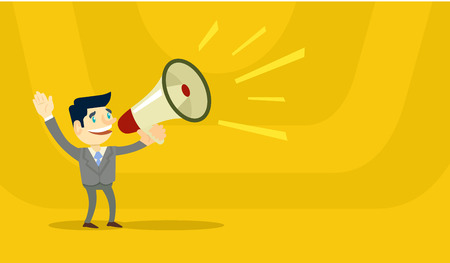 Ilustración de Business man speaking through megaphone. Vector flat illustration - Imagen libre de derechos