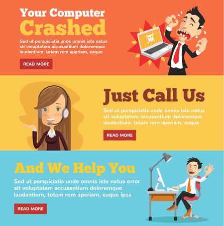 Illustration pour Computer service, computer store flat illustration concepts set - image libre de droit