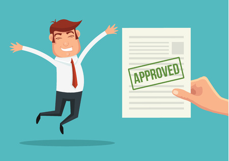 Approved application and happy man. Vector flat illustration