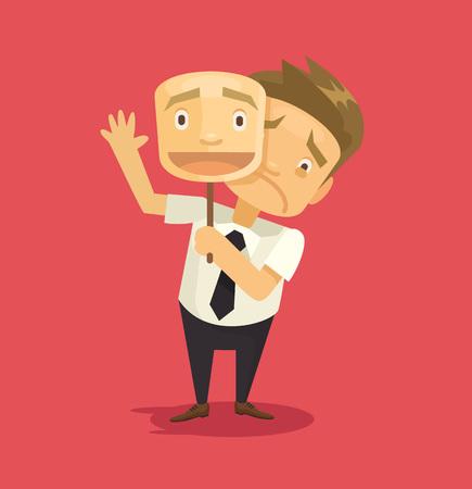 Illustration pour Fake businessman wearing mask with smile. Vector flat illustration - image libre de droit