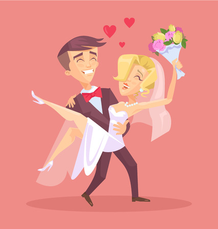 Happy wedding couple. Vector flat illustration