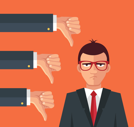 Illustrazione per Angry businessman and many hands with thumbs down. Vector flat illustration - Immagini Royalty Free
