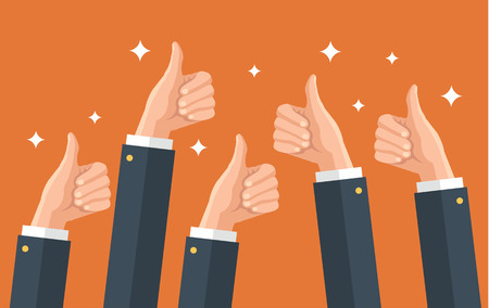 Illustration pour Many thumbs up. Social network likes, approval, feedback concept. Vector flat illustration - image libre de droit
