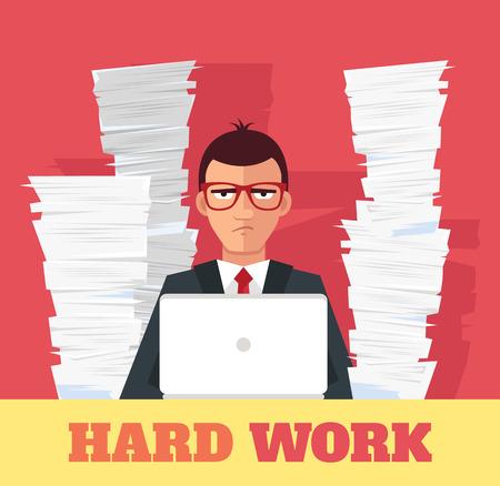 Stress at work. Vector flat banner illustration