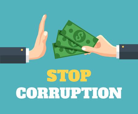 Illustration pour Stop corruption. Vector flat illustration - image libre de droit