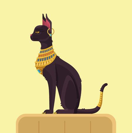 Egypt cat. Vector flat illustration