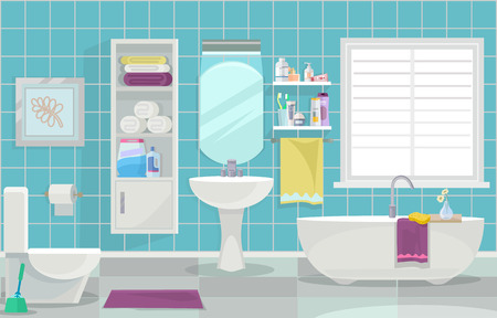 Modern bathroom interior. Vector flat illustration
