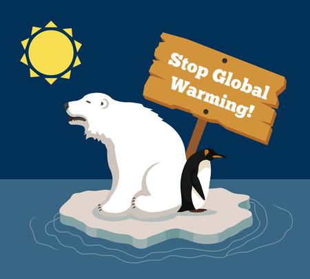 Illustration pour Stop global warming. Vector flat illustration - image libre de droit