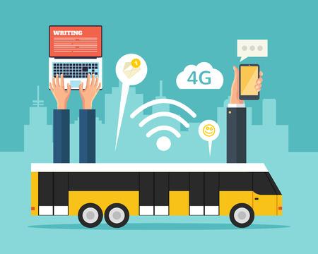 Illustration pour City bus with wi-fi. Vector flat illustration - image libre de droit
